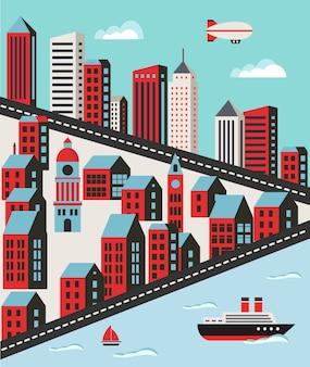 Paisagem urbana em um estilo simples, com casas, estradas