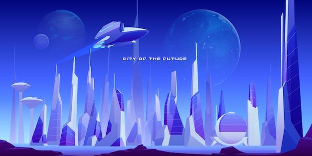 Paisagem urbana futurista da cidade e nave espacial