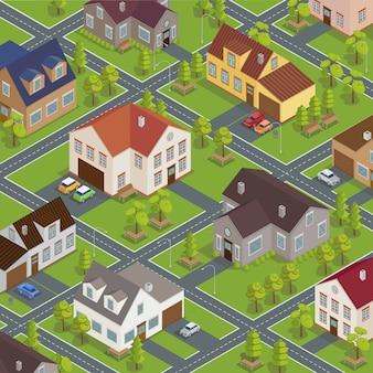 Paisagem urbana isométrica. edifícios isométricos. casas isométricas. casas isométricas. cidade isométrica. casas modernas. carros isométricos. ilustração vetorial