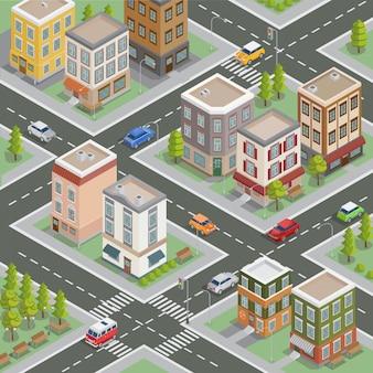Paisagem urbana isométrica. edifícios isométricos. casas isométricas. cidade isométrica. casas modernas. carros isométricos. ilustração vetorial