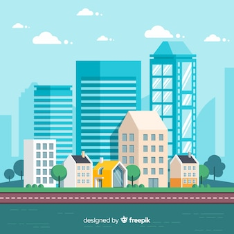 Paisagem urbana moderna com design plano