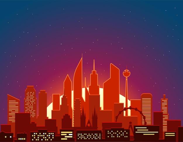 Paisagem urbana moderna na ilustração de vetor de manhã. cena da grande cidade