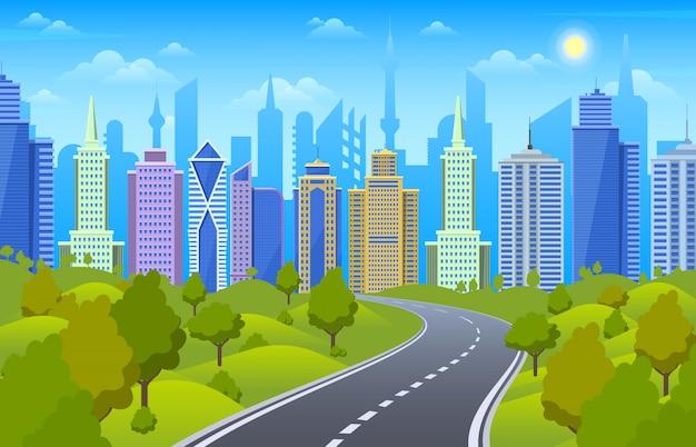 Paisagem urbana na estrada. a estrada urbana com skyline da cidade e a área do parque, a baixa, a opinião da estrada e a natureza ajardinam a ilustração da cena. paisagem urbana de estrada, estrada urbana na estrada, vista da cidade e cidade