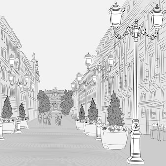 Paisagem urbana na larga avenida com edifícios antigos