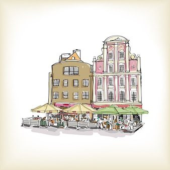 Paisagem urbana na polônia, construção vintage à mão livre, desenho e ilustração