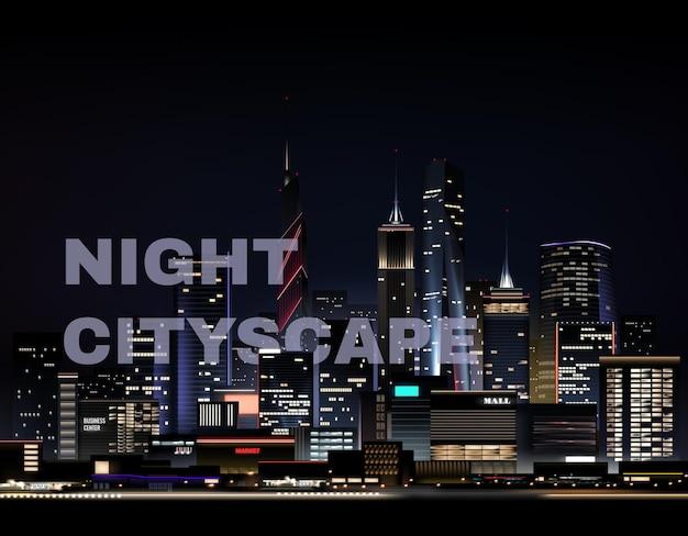 Paisagem urbana noturna realista com arranha-céus e texto