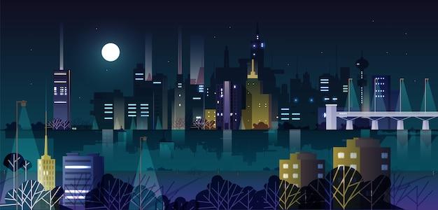 Paisagem urbana ou paisagem urbana com edifícios modernos e arranha-céus iluminados