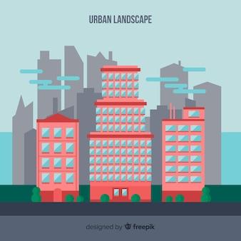 Paisagem urbana plana com prédios de escritórios