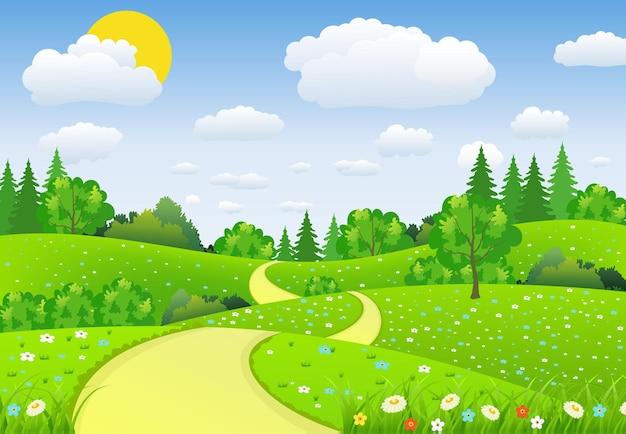 Paisagem verde com árvores, nuvens e flores