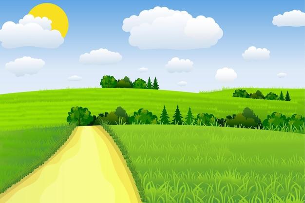 Paisagem verde com nuvens de árvores