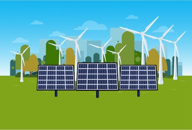 Paisagem verde da natureza do conceito da energia com turbinas eólicas e painéis solares