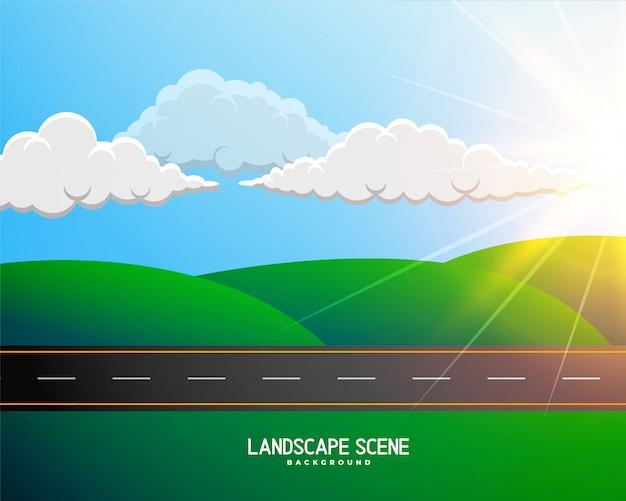 Paisagem verde dos desenhos animados com fundo de estrada