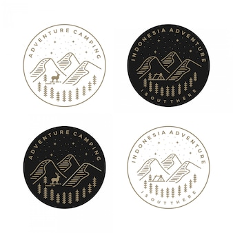 Paisagem vintage de logotipo com picos de montanha e elementos gráficos