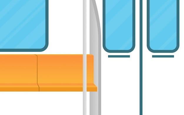 Paisagem vista dentro do trem do metrô (subterrâneo) com assento vazio