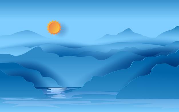 Paisagem, vista, montanhas, azul, céu