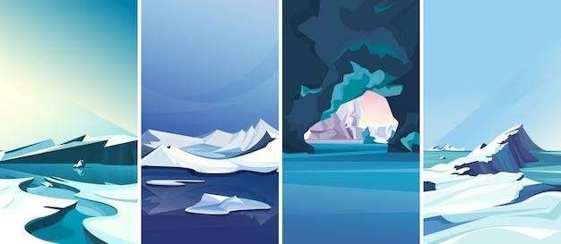 Paisagens árticas em orientação vertical. coleção de cenários polares.