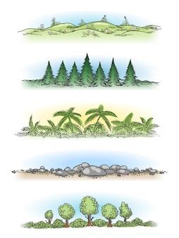 Paisagens coloridas mão desenhada com árvores
