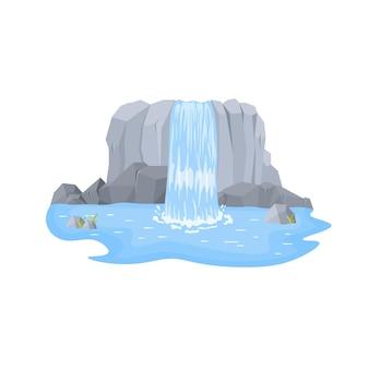 Paisagens de desenhos animados com montanhas e árvores atração turística pitoresca com pequena cachoeira Vetor Premium