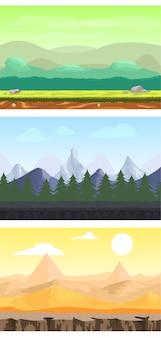 Paisagens de design de jogos de fantasia com montanhas de floresta de prados e cenários de deserto