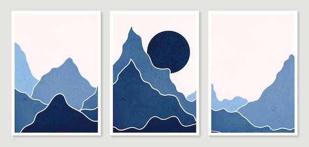 Paisagens de fundos estéticos contemporâneos de montanha abstratos