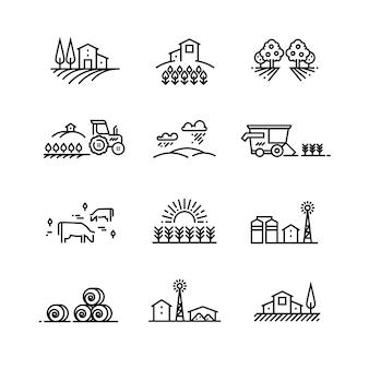 Paisagens de linha de aldeia com campo agrícola e edifícios agrícolas. conceitos de vetor de agricultura linear