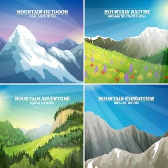 Paisagens de montanha 4 ícones quadrados plana