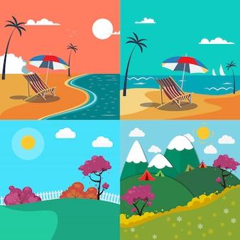 Paisagens de verão na praia e nas montanhas