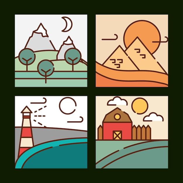 Paisagens diferentes paisagens desenhos animados, ilustração em vetor linha preenchida cores planas