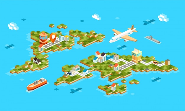Paisagens isométricas com aeroporto, avião, construção, barco, marinho. conjunto de paisagem do aeroporto na ilha. navegação gps isométrica em 3d no aeroporto -