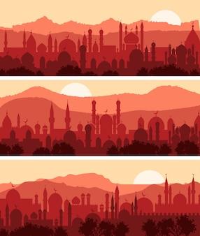 Paisagens muçulmanas, três planos de fundo da cidade árabe tradicional
