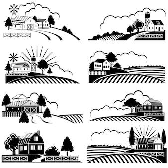 Paisagens rurais retrô com construção de fazenda em campo