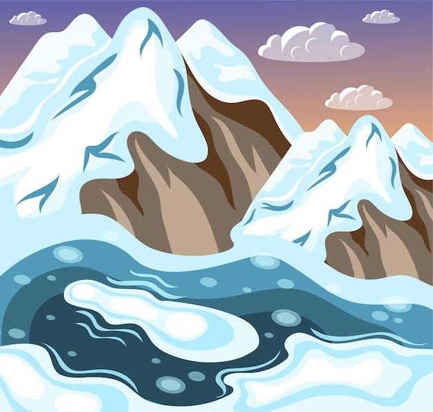 Paisagismo de inverno em montanhas nevadas