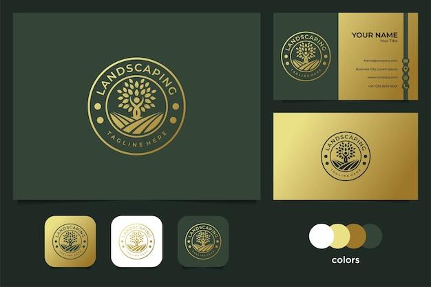 Paisagismo elegante com design de logotipo de pessoas e árvores e cartão de visita