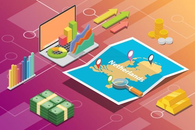 Países baixos isométrica negócios economia crescimento país