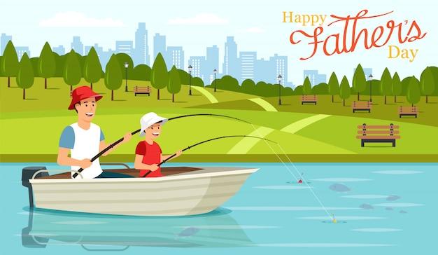 Paizinho e filho dos desenhos animados que sentam-se no barco e na pesca.