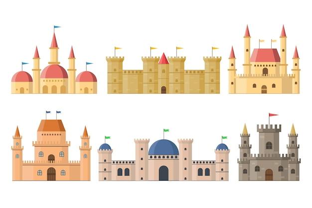 Palácios e castelos medievais de fadas com torres isoladas