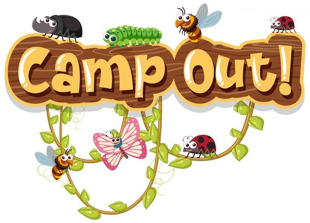 Palavra acampamento fora com bugs na videira