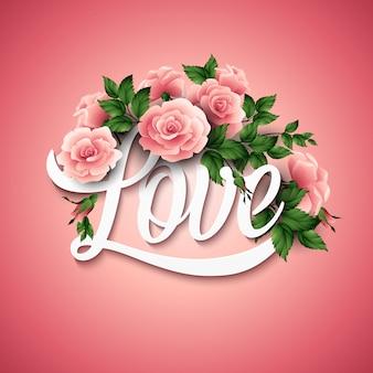 Palavra amor com flores. ilustração vetorial
