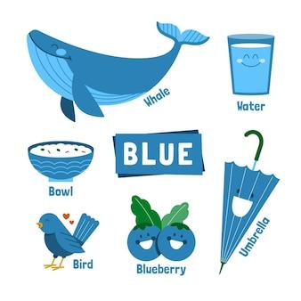 Palavra azul e pacote de elementos em inglês