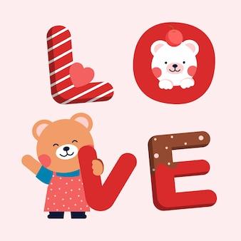 Palavra de amor com ursinhos fofos