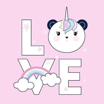 Palavra de amor e cabeça de panda sobre rosa pastel