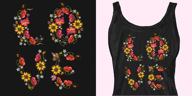 Palavra de bordado de flores. slogan love