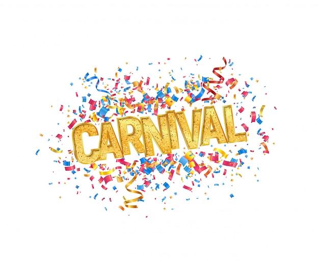 Palavra de carnaval dourado isolado vector e confetes coloridos em elemento de design de fundo branco