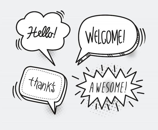 Palavra de desenhos animados de bolha de discurso de quadrinhos olá, bem vindo, obrigado, incrível