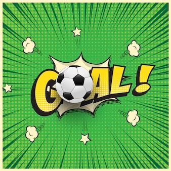 Palavra de gol com bola de futebol realista na ilustração do estilo de quadrinhos.