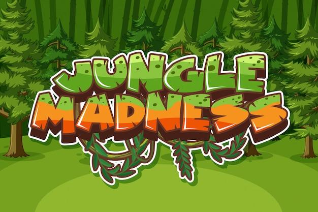 Palavra de loucura na selva com muitas árvores na floresta