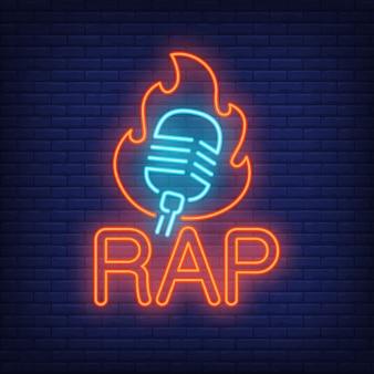 Palavra de néon de rap e microfone no contorno de chama.