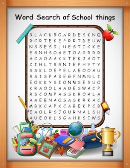 Palavra de palavras cruzadas encontrar coisas de escola para jogos de crianças