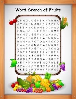 Palavra de palavras cruzadas encontrar frutas para jogos de crianças