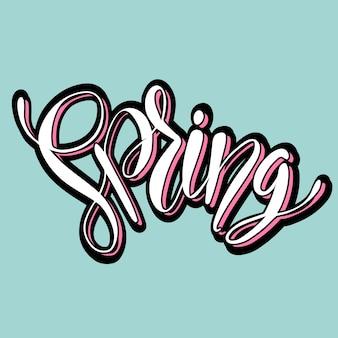 Palavra de primavera elegante na rotulação